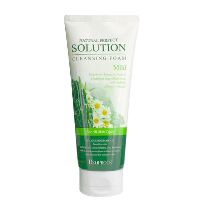 Купить Очищающая пенка Deoproce Natural Perfect Solution Cleansing Foam Mild, Мягкая пенка для умывания лица с экстрактом кактуса, Южная Корея