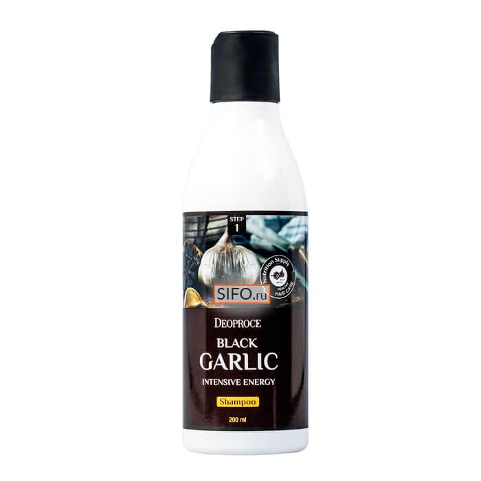 Купить Шампунь для волос Deoproce Black Garlic Intensive Energy Shampoo (200 мл), Интенсивный шампунь от выпадения волос с экстрактом чёрного чеснока, Южная Корея