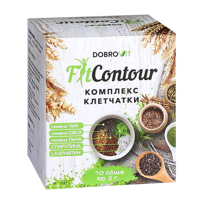 Купить Комплекс клетчатки DobroVit FitContour, Комплекс клетчатки в пакетиках-саше для контроля аппетита, Россия