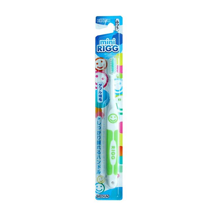 Купить Детская зубная щётка Ebisu Mini RIGG Medium (с комбинированным ворсом), Детская зубная щетка средней жёсткости с комбинированным ворсом и прорезиненной ручкой, Япония