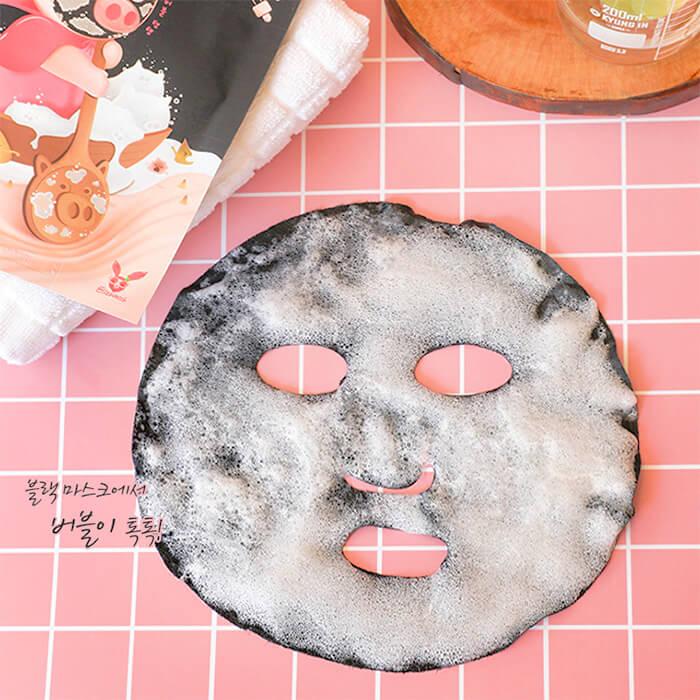 Кислородная маска Elizavecca Black Solution Bubble Serum Mask Pack Антивозрастная пузырьковая маска для лица с порошком чёрного угля