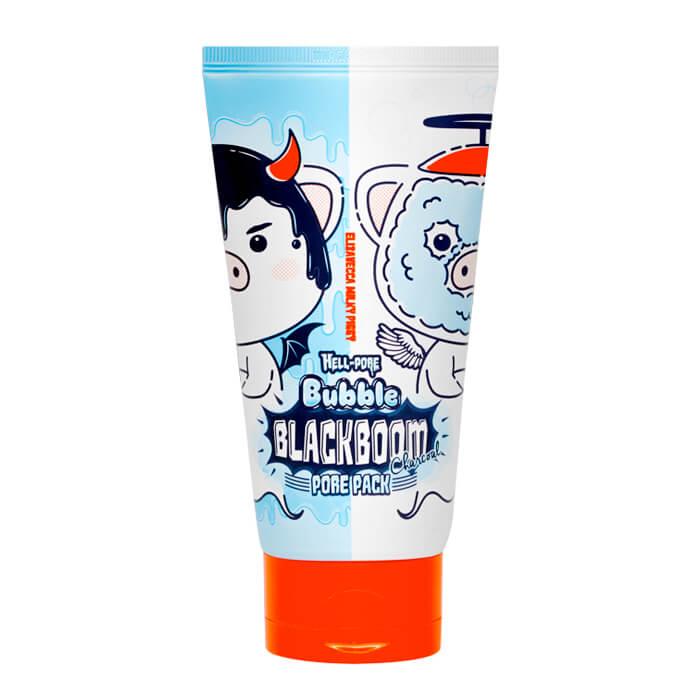 Купить Кислородная маска Elizavecca Hell-Pore Bubble Blackboom Pore Pack, Чёрная кислородная маска для очищения пор на коже лица, Южная Корея