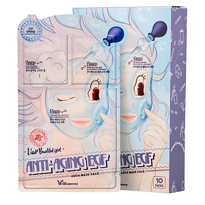 Купить Маска для лица Elizavecca 3-Step Anti-Aging EGF Aqua Mask Sheet, Трёхступенчатая омолаживающая тканевая маска для лица, Южная Корея
