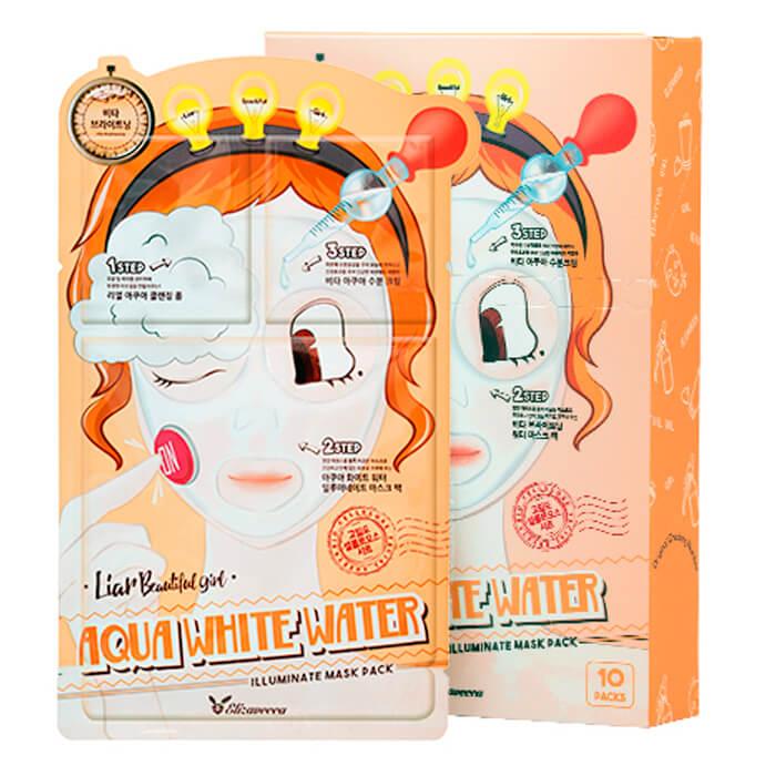 Купить со скидкой Маска для лица Elizavecca 3-Step Aqua White Water Illuminate Mask Sheet
