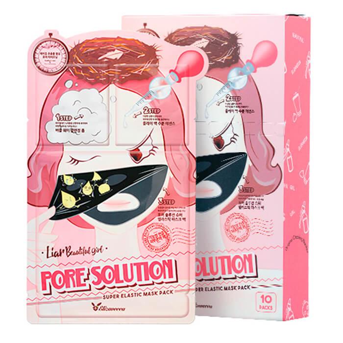 Купить Маска для лица Elizavecca 3-Step Pore Solution Super Elastic Mask Sheet, Трёхступенчатая тканевая маска для сужения пор лице, Южная Корея