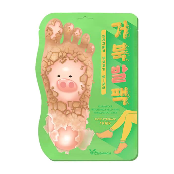Купить Носочки для педикюра Elizavecca Witch Piggy Hell Pore Turtle's Foot Pack, Отшелушивающие пилинг-носочки для очищения и смягчения кожи стоп, Южная Корея