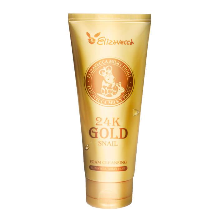 Очищающая пенка Elizavecca 24K Gold Snail Cleansing Foam Нежная пенка для умывания с муцином улитки и 24К золотом фото