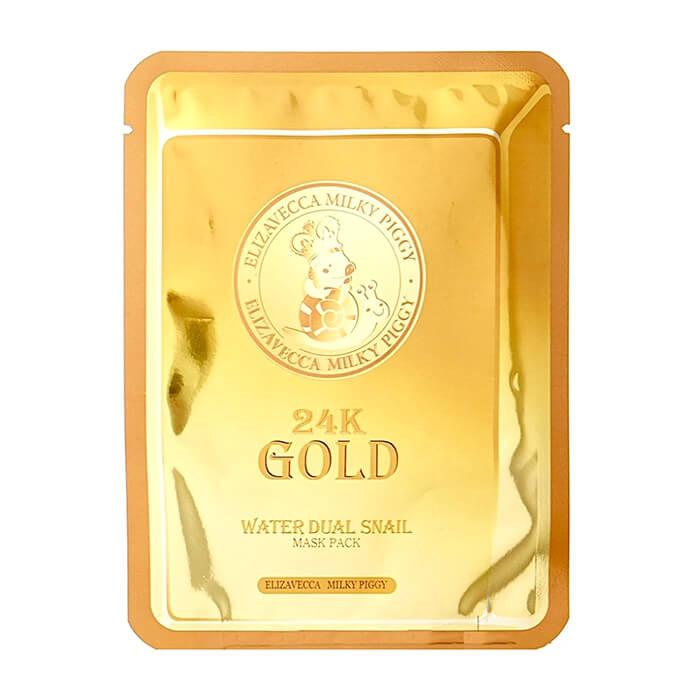 Купить Тканевая маска Elizavecca 24K Gold Water Dual Snail Mask Pack, Тканевая маска для кожи лица с золотом и муцином улитки, Южная Корея