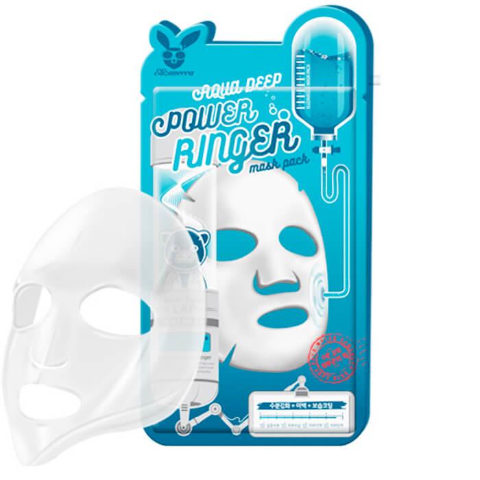 Купить Тканевая маска Elizavecca Aqua Deep Power Ringer Mask Pack, Глубоко увлажняющая тканевая маска для лица с гиалуроновой кислотой, Южная Корея