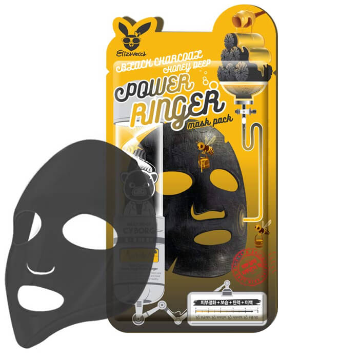 Купить Тканевая маска Elizavecca Black Charcoal Honey Deep Power Ringer Mask Pack, Очищающая тканевая маска для лица с порошком древесного угля, Южная Корея