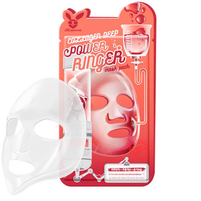 Купить Тканевая маска Elizavecca Collagen Deep Power Ringer Mask Pack, Омолаживающая тканевая маска для лица с коллагеном, Южная Корея