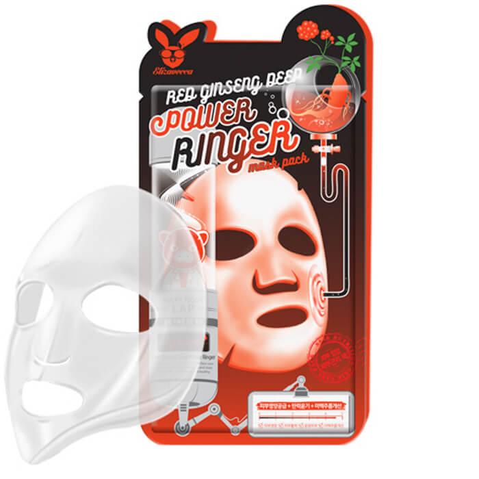 Купить Тканевая маска Elizavecca Red Ginseng Deep Power Ringer Mask Pack, Регенерирующая тканевая маска для лица с экстрактом красного женьшеня, Южная Корея