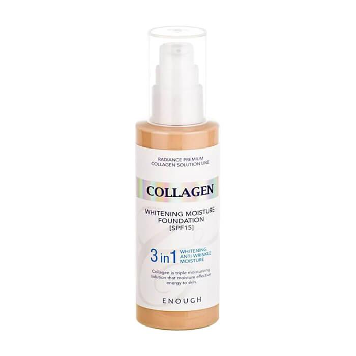 Купить Тональный крем Enough Collagen 3 in 1 Whitening Moisture Foundation, Цвет #13 Light Beige | Светлый бежевый, Осветляющий тональный крем для кожи лица с коллагеном и гиалуроновой кислотой, Южная Корея