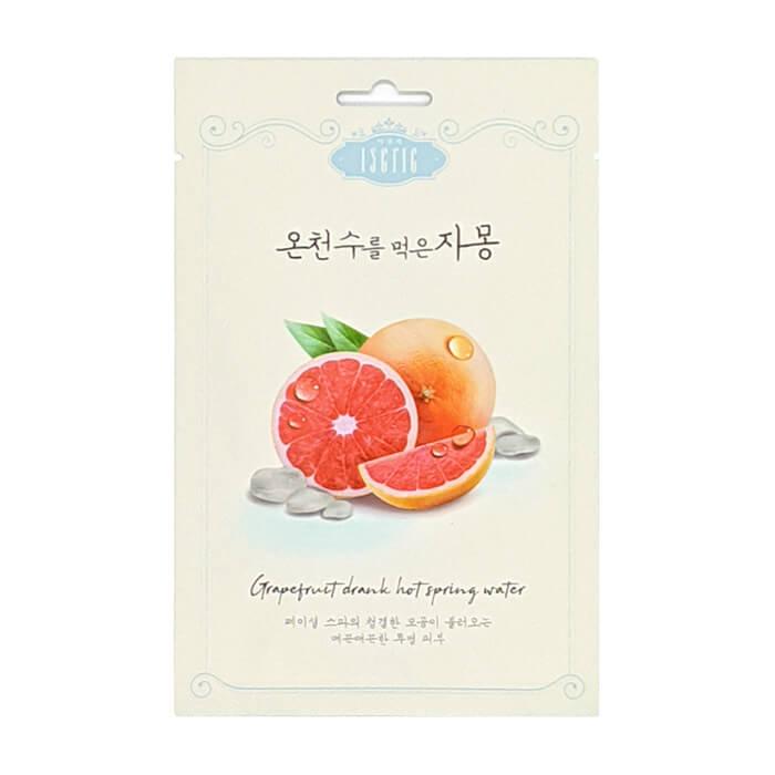 Купить Тканевая маска Entico Eserie Grapefruit Drank Hot Spring Water Mask Pack, Тонизирующая тканевая маска для кожи лица с витамином С и фруктовыми кислотами, Южная Корея