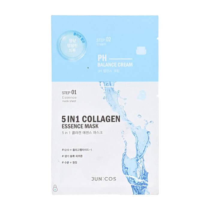 Купить Тканевая маска Entico JUN:COS 5 IN 1 Collagen Essence Mask, 2-ступенчатая маска для увлажнения кожи лица с коллагеном и гиалуроновой кислотой, Южная Корея