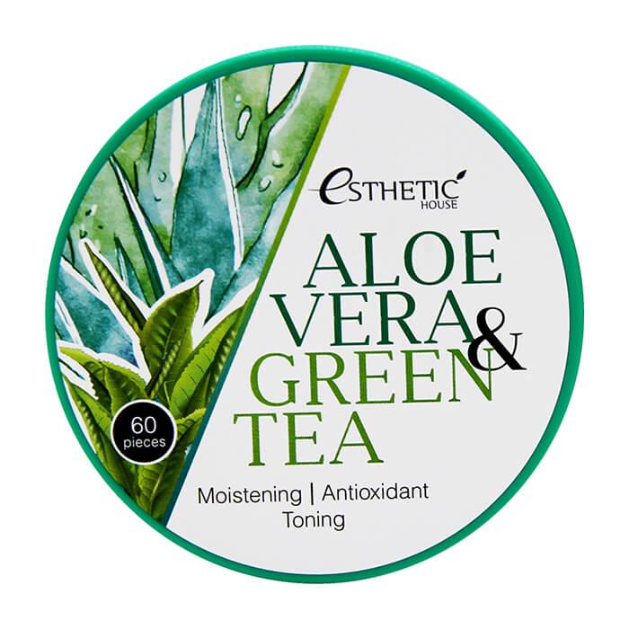 Купить Патчи для век Esthetic House Aloe Vera & Green Tea Hydrogel Eye Patch, Увлажняющие гидрогелевые патчи для век с алоэ и зелёным чаем, Южная Корея