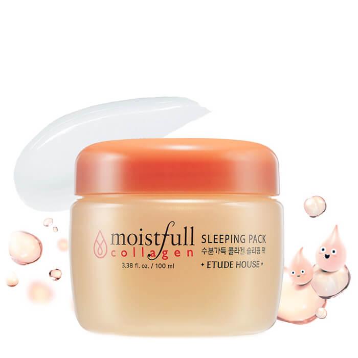 Купить Ночная маска Etude House Moistfull Collagen Sleeping Pack, Ночная маска для лица с маслом баобаба и 63, 6% морского коллагена, Южная Корея