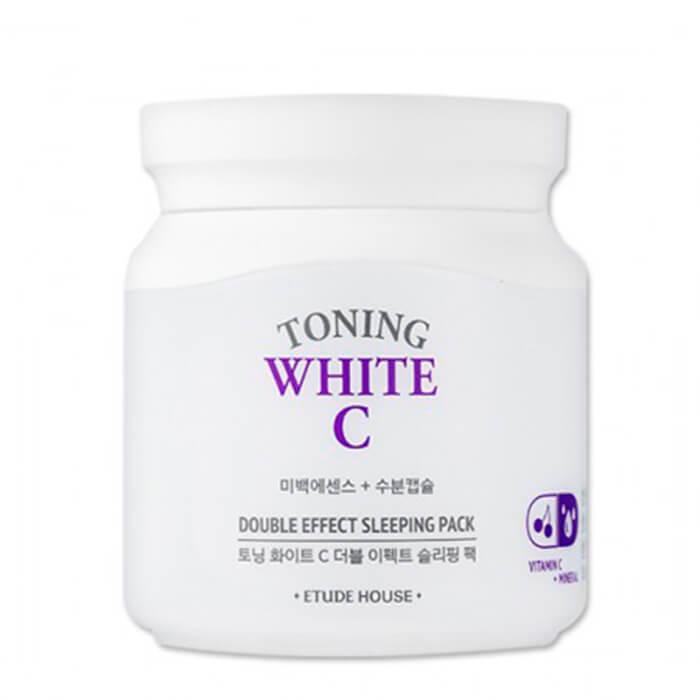 Купить Ночная маска Etude House Toning White C Double Effect Sleeping Pack, Ночная осветляющая маска для лица с витамином С, Южная Корея