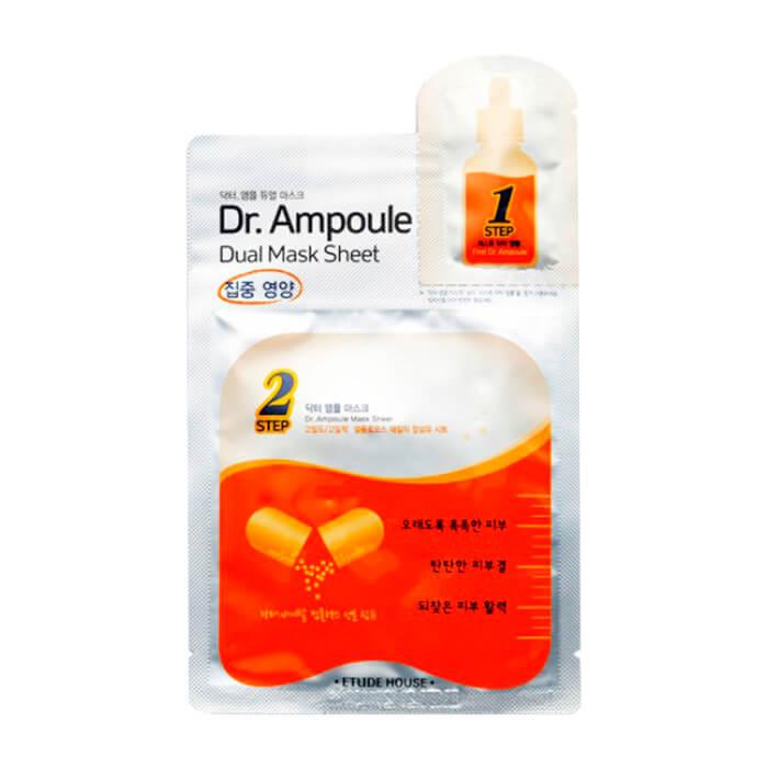 Купить Тканевая маска Etude House Dr.Ampoule Dual Mask Sheet - Vital Care, Двухфазная тканевая маска для восстановления кожи лица, Южная Корея