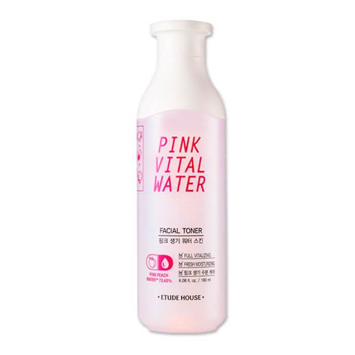 Тонер для лица Etude House Pink Vital Water Facial Toner Увлажняющий тонер для лица с розовой персиковой водой фото