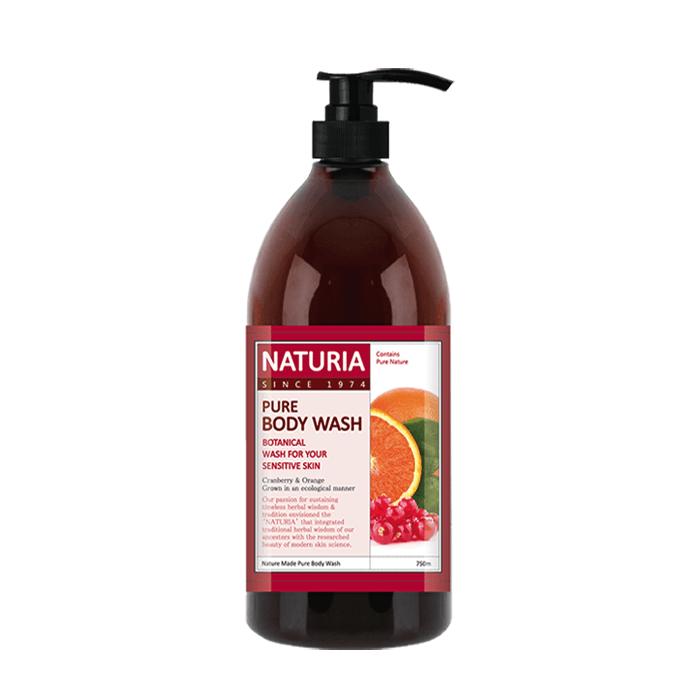 Купить Гель для душа Evas Naturia Pure Body Wash Cranberry & Orange (750 мл), Увлажняющий гель для душа с фруктовым ароматом апельсина, клюквы и зеленого яблока, Южная Корея