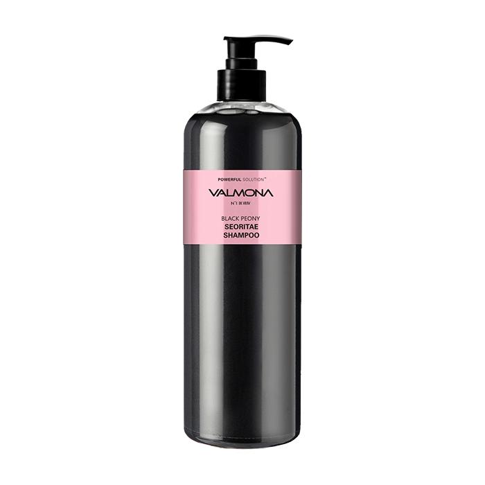 Купить Шампунь для волос Evas Valmona Powerful Solution Black Peony Seoritae Shampoo (480 мл), Шампунь для предотвращения выпадения волос с экстрактом черных бобов, Южная Корея