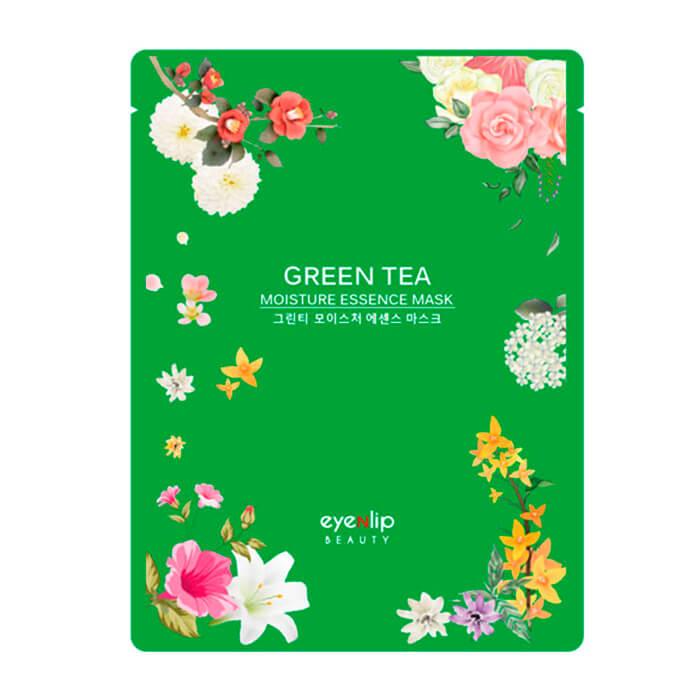 Купить Тканевая маска Eyenlip Green Tea Moisture Essence Mask, Увлажняющая тканевая маска для лица с экстрактом зелёного чая, Южная Корея