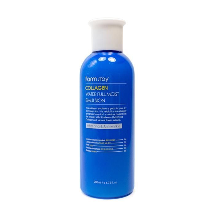 Купить Эмульсия для лица FarmStay Collagen Water Full Moist Emulsion, Коллагеновая эмульсия для увлажнения сухой кожи лица, Южная Корея