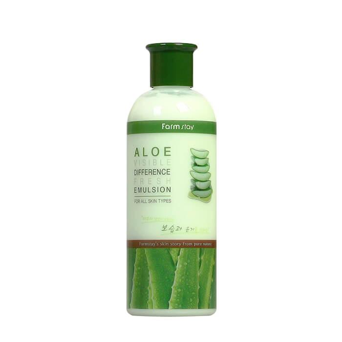 Купить Эмульсия для лица FarmStay Visible Difference Fresh Emulsion Aloe, Увлажняющая эмульсия для снятия раздражения кожи лица с экстрактом алоэ вера, Южная Корея