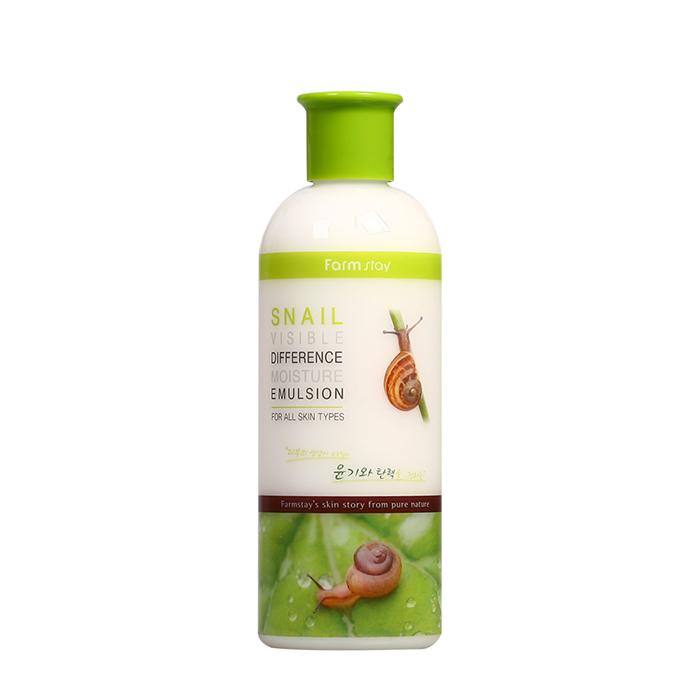 Эмульсия для лица FarmStay Snail Visible Difference Moisture Emulsion, Оздоравливающая эмульсия для омоложения лица с экстрактом слизи улитки, Южная Корея  - Купить