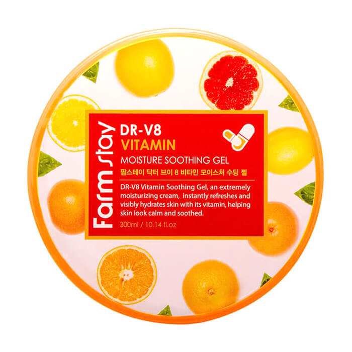 Купить Гель с витаминами FarmStay DR-V8 Vitamin Moisture Soothing Gel, Универсальный гель для ухода за кожей лица и тела с витаминным комплексом, Южная Корея