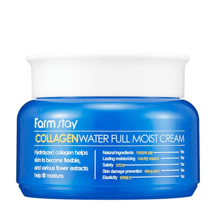 Купить Крем для лица FarmStay Collagen Water Full Moist Cream, Коллагеновый крем для эффективного увлажнения сухой кожи лица, Южная Корея
