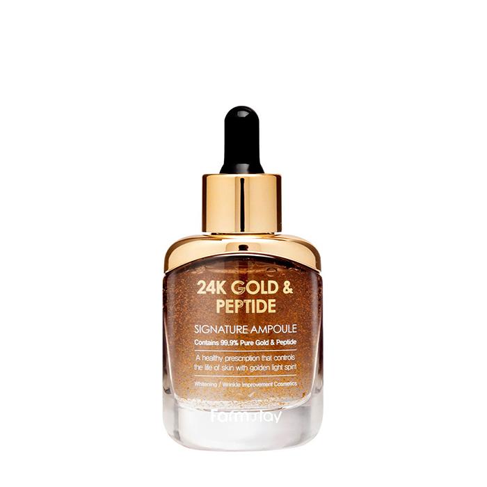 Купить Сыворотка для лица FarmStay 24K Gold & Peptide Signature Ampoule, Ампульная сыворотка с золотом и пептидами для восстановления и регенерации кожи лица, Южная Корея