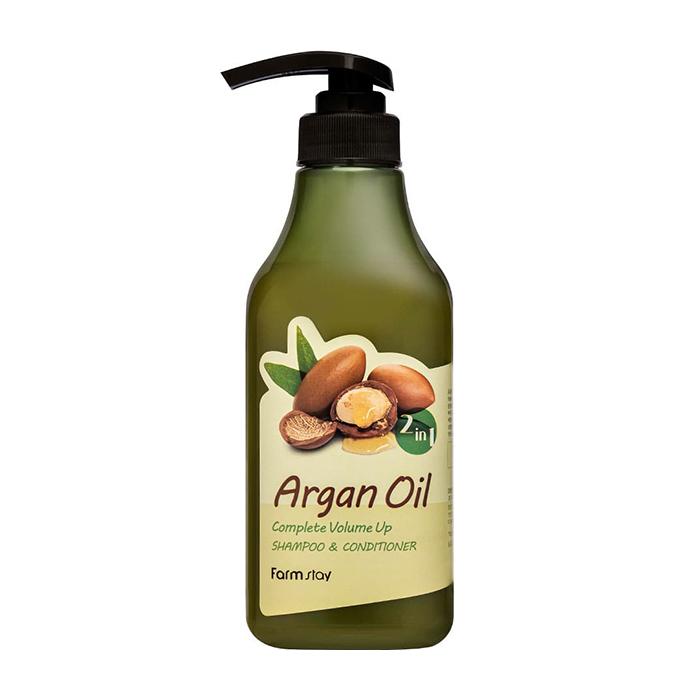 Купить Шампунь-кондиционер для волос FarmStay Argan Oil Complete Volume Up Shampoo & Conditioner, Шампунь-кондиционер с aргановым маслом для улучшения состояния сухих и окрашенных волос, Южная Корея