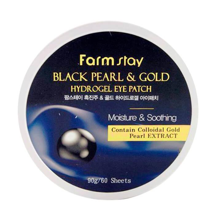 Купить Патчи для глаз FarmStay Black Pearl & Gold Hydrogel Eye Patch, Гидрогелевые патчи для глаз с золотом и черным жемчугом, Южная Корея