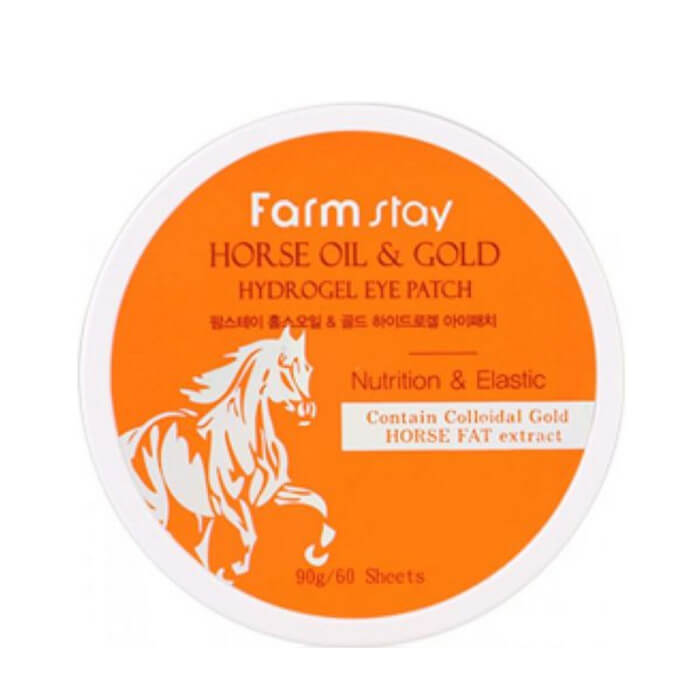 Купить Патчи для глаз FarmStay Horse Oil & Gold Hydrogel Eye Patch, Гидрогелевые патчи для глаз с золотом и конским жиром, Южная Корея
