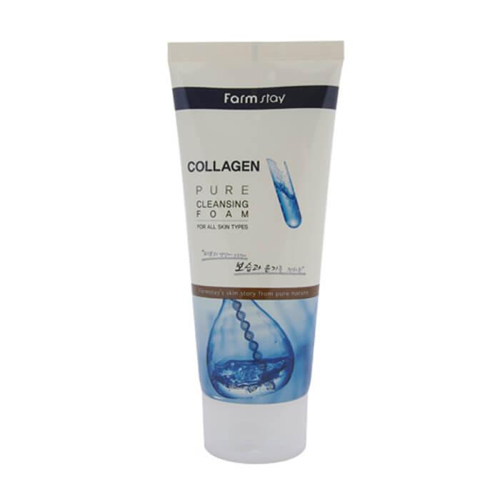 Купить Пенка для лица FarmStay Collagen Pure Cleansing Foam, Увлажняющая и очищающая пенка для лица с коллагеном, Южная Корея