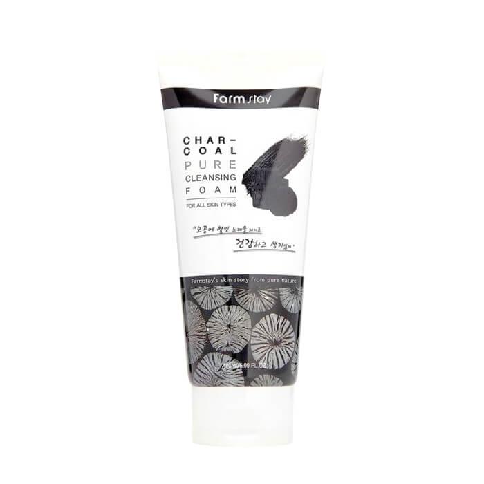 Купить Пенка для умывания FarmStay Charcoal Pure Cleansing Foam, Мягкая очищающая пенка для лица с порошком древесного угля, Южная Корея