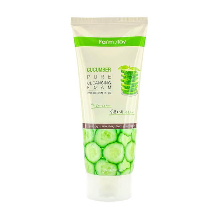 Купить Пенка для умывания FarmStay Cucumber Pure Cleansing Foam, Очищающая пенка для чувствительной кожи лица с экстрактом огурца, Южная Корея