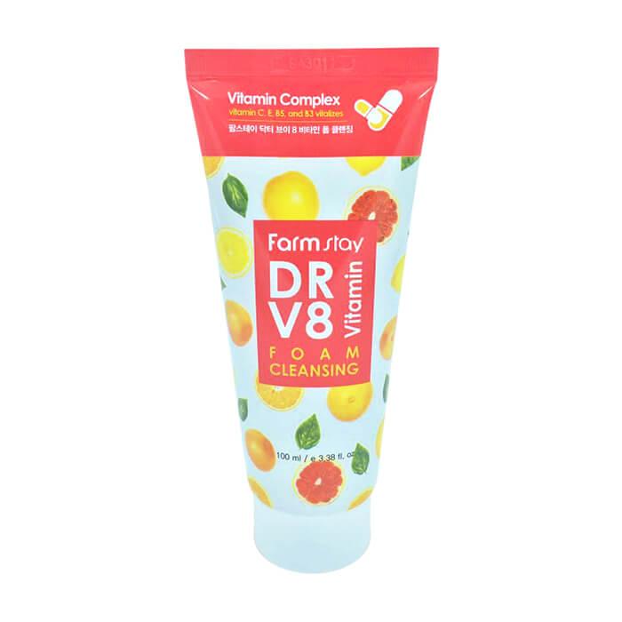Купить Пенка для умывания FarmStay DR-V8 Vitamin Foam Cleansing, Воздушная очищающая пенка для сияния кожи лица с комплексом витаминов, Южная Корея