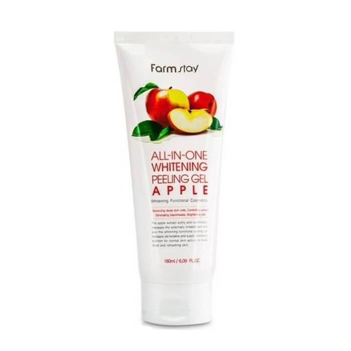 Купить Пилинг-скатка для лица FarmStay All In One Whitening Peeling Gel Cream Apple, Гель-скатка для лица с экстрактом улитки и яблока, Южная Корея