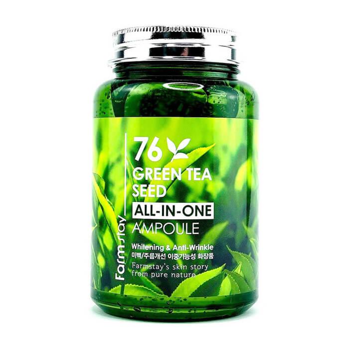 Купить Сыворотка для лица FarmStay 76 Green Tea Seed All-In-One Ampoule, Многофункциональная сыворотка для лица с экстрактом семян зеленого чая, Южная Корея
