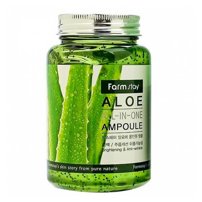 Сыворотка для лица FarmStay Aloe All-In One Ampoule, Многофункциональная ампульная сыворотка для ухода за кожей лица с экстрактом алоэ, Южная Корея  - Купить