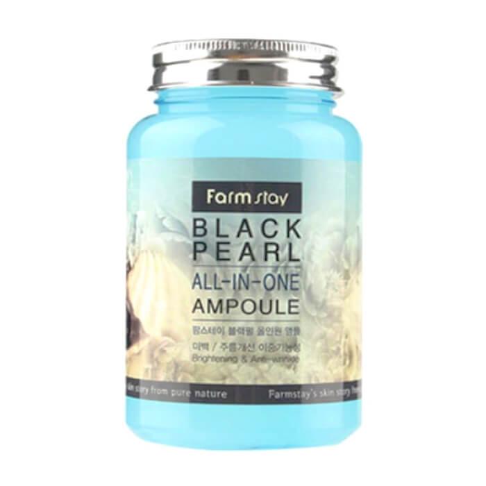 Купить Сыворотка для лица FarmStay Black Pearl All-In One Ampoule, Многофункциональная ампульная сыворотка для ухода за кожей лица с экстрактом жемчуга, Южная Корея