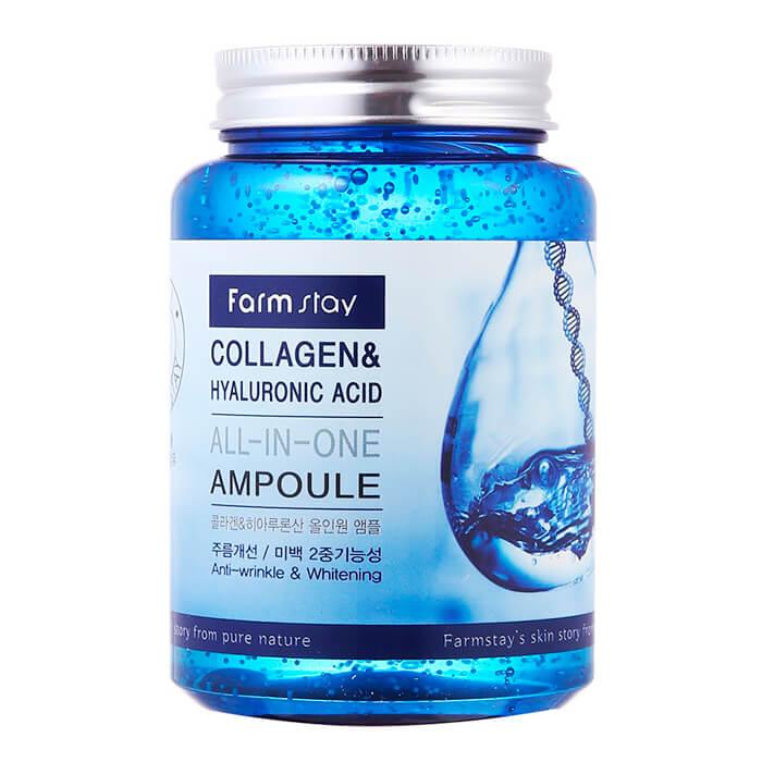 Купить Сыворотка для лица FarmStay Collagen & Hyaluronic Acid All-in-One Ampoule, Ампульная сыворотка с коллагеном и гиалоурановой кислотой, Южная Корея