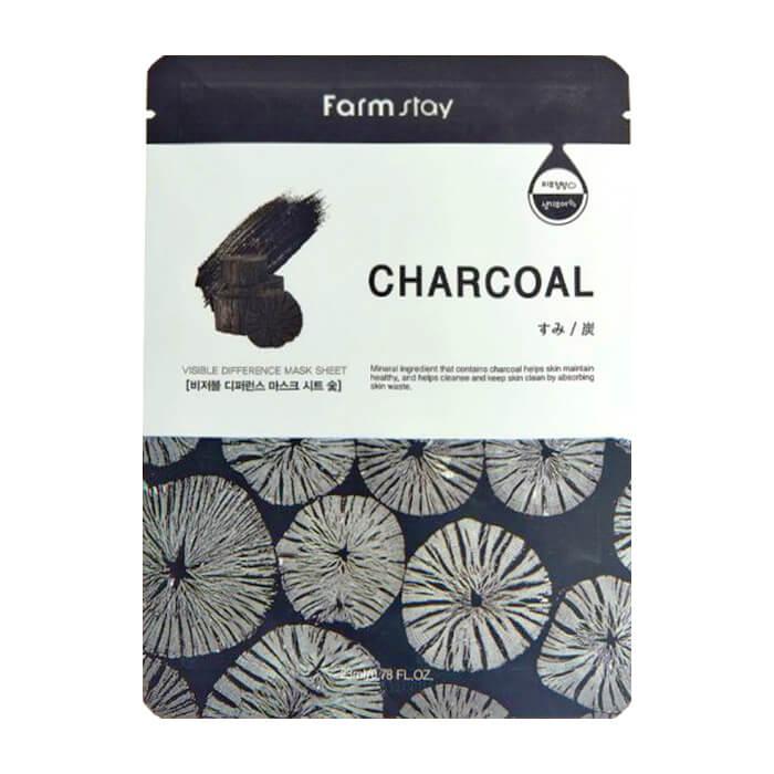 Купить Тканевая маска FarmStay Visible Difference Mask Sheet Charcoal, Очищающая тканевая маска для ухода за кожей лица с древесным углём, Южная Корея