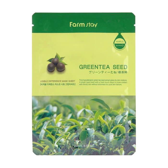 Купить Тканевая маска FarmStay Visible Difference Mask Sheet Green Tea Seed, Увлажняющая тканевая маска для ухода за кожей лица с семенами зелёного чая, Южная Корея