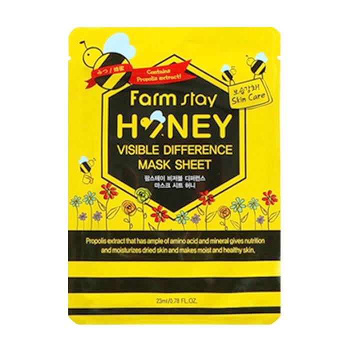 Купить Тканевая маска FarmStay Visible Difference Mask Sheet Honey, Питательная тканевая маска для ухода за кожей лица с экстрактом мёда и прополисом, Южная Корея