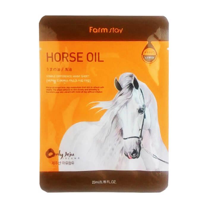 Купить Тканевая маска FarmStay Visible Difference Mask Sheet Horse Oil, Питательная тканевая маска для лица с лошадиным жиром, Южная Корея