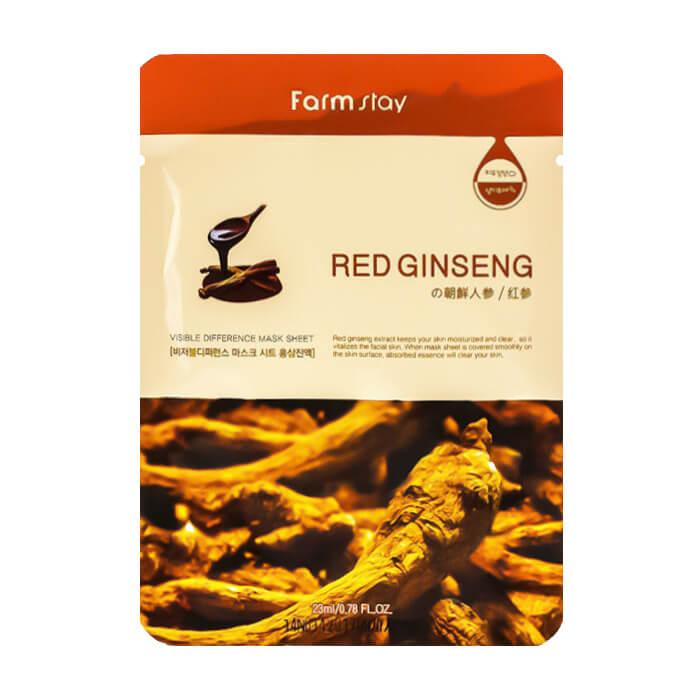Купить Тканевая маска FarmStay Visible Difference Mask Sheet Red Ginseng, Восстанавливающая тканевая маска для лица с экстрактом красного женьшеня, Южная Корея